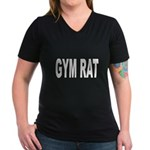Gym Rat (Front) Women's V-Neck Dark T-Shirt
