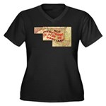 Flat Maryland Women's Plus Size V-Neck Dark T-Shir