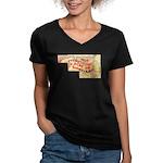 Flat Maryland Women's V-Neck Dark T-Shirt