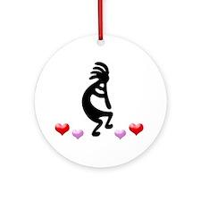 Kokopelli Hearts Ornament (Round)