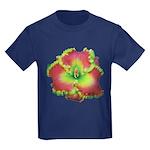 Pink w/ Green Edge Daylily Kids Dark T-Shirt