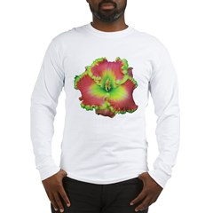 Pink w/ Green Edge Daylily Long Sleeve T-Shirt