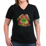 Pink w/ Green Edge Daylily Women's V-Neck Dark T-S
