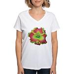 Pink w/ Green Edge Daylily Women's V-Neck T-Shirt