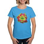 Pink w/ Green Edge Daylily Women's Dark T-Shirt