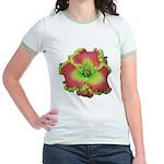 Pink w/ Green Edge Daylily Jr. Ringer T-Shirt