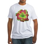Pink w/ Green Edge Daylily Fitted T-Shirt