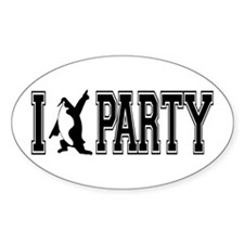 I Party Penquin Oval Decal