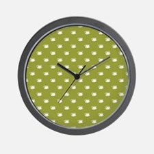 CUPS ON GREEN Wall Clock