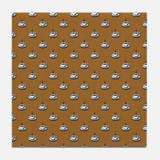 CUPS ON BROWN Tile Coaster