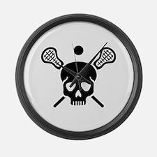 Lacrosse skull Large Wall Clock