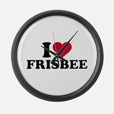 I love Frisbee Large Wall Clock