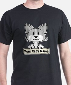 Personalized Gray/White Cat T-Shirt