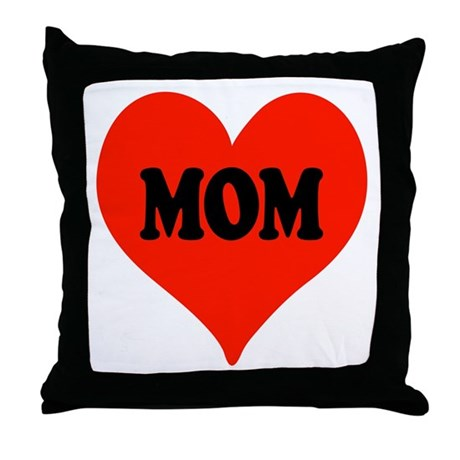 Mom Heart Throw Pillow