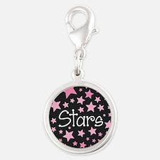 Stars - Pink on Black Charms