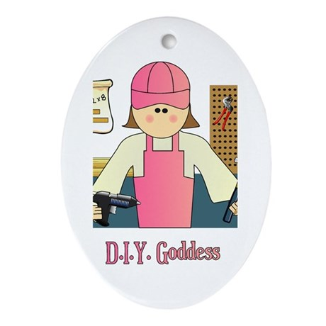 D.I.Y. Do It Yourself Goddess Oval Ornament