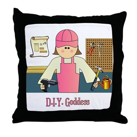 D.I.Y. Do It Yourself Goddess Throw Pillow