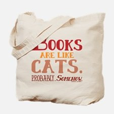 Books are like cats Red Tote Bag