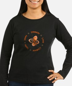 Hope Courage 1 Butterfly 2 ORANGE Long Sleeve T-Sh