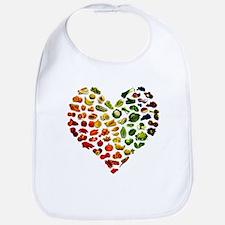 Fruits and Vegetables Rainbow Heart Bib
