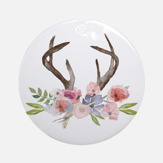 Rustic Watercolor Wildflower Round Ornament