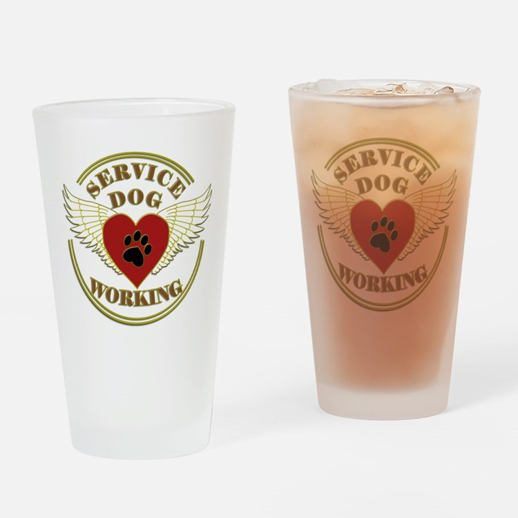 SERVICE DOG WORKING WINGS Drinking Glass