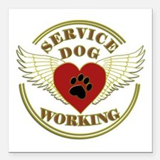 """SERVICE DOG WORKING WINGS Square Car Magnet 3"""" x 3"""