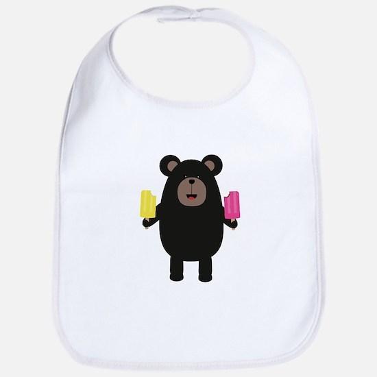 Black Bear with Icecream Baby Bib