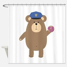 Police Office Brown Bear Shower Curtain