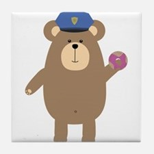Police Office Brown Bear Tile Coaster