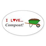 I Love Compost Sticker (Oval 10 pk)