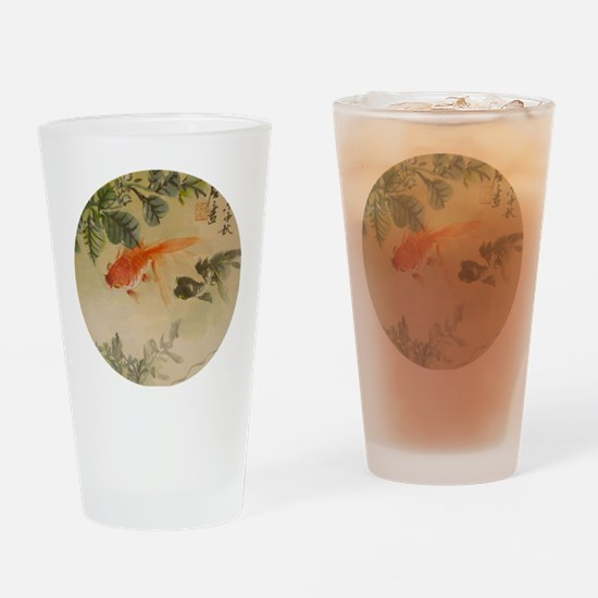 koi fish goldfish Vintage Japanese Drinking Glass