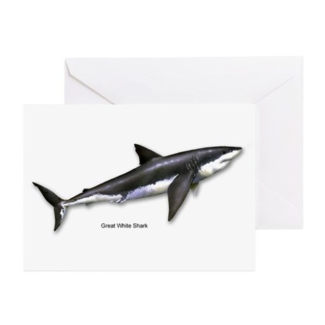 Great White Shark Greeting Cards (Pk of 10)