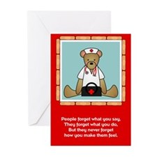 Nurse Sentiments-Teddy Bear Greeting Cards (Pk of