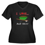 I Love Bull Women's Plus Size V-Neck Dark T-Shirt