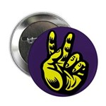 Yellow Peace Hand Buttons (10 pack)