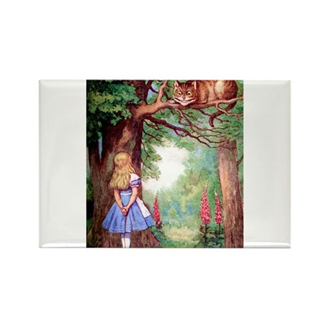 ALICE & THE CHESHIRE CAT Rectangle Magnet (10 pack