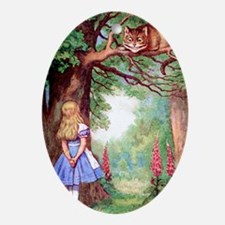 ALICE & THE CHESHIRE CAT Oval Ornament
