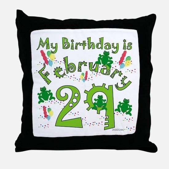 Leap Year Birthday Feb. 29th Throw Pillow