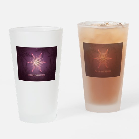 Pink Merry Christmas Snowflake Drinking Glass