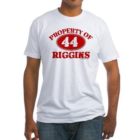 PROPERTY OF (44) RIGGINS Fitted T-Shirt
