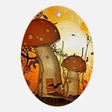 The fairy house in the night Oval Ornament