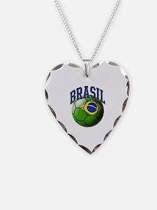 Flag of Brasil Soccer Ball Necklace
