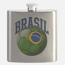 Flag of Brasil Soccer Ball Flask