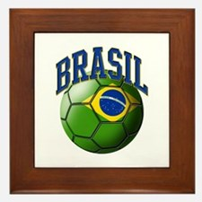 Flag of Brasil Soccer Ball Framed Tile