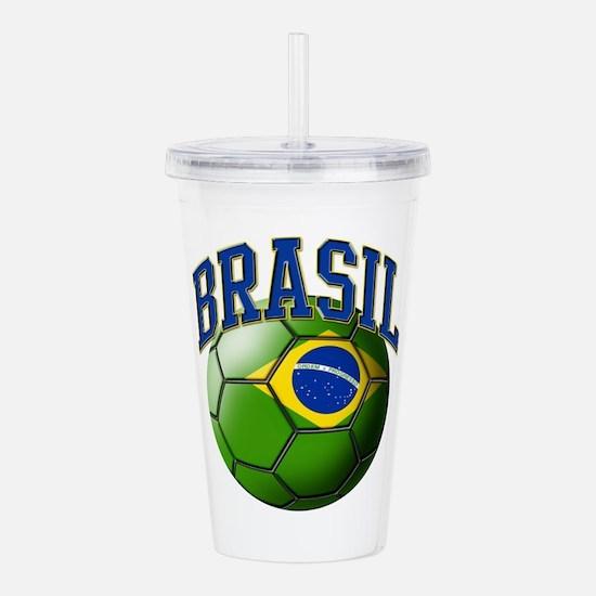 Flag of Brasil Soccer Acrylic Double-wall Tumbler