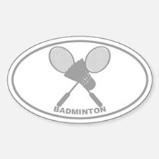 Badminton - Gray on Clear Oval Decal