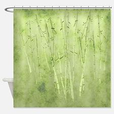 Green Bamboo Stalks Shower Curtain
