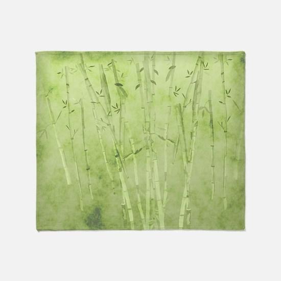 Green Bamboo Stalks Throw Blanket