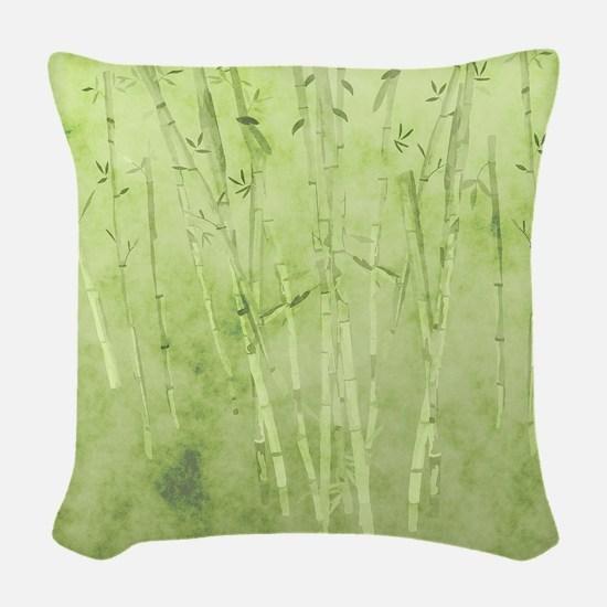 Green Bamboo Stalks Woven Throw Pillow